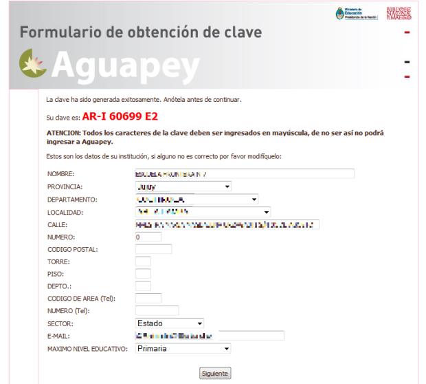 Clave CIIPA obtenida junto al registro institucional