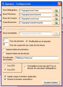 Ventana de Configuracion de Aguapey