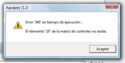Error 340 en tiempo de ejecucion. El elemento 10 de la matriz de controles no existe